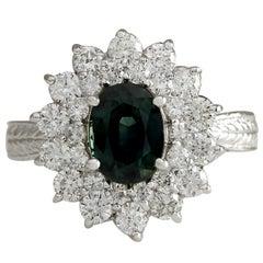 2.81 Carat Natural Sapphire 18 Karat White Gold Diamond Ring