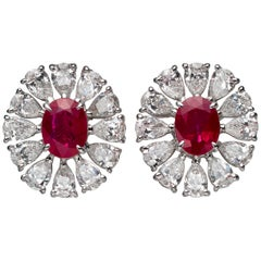 2.81 Carat Oval Ruby Diamond 18 Karat White Gold Stud Earrings