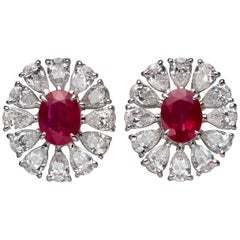 2.81 Carat Oval Ruby Pear-Shape Diamond 18 Karat White Gold Stud Earrings