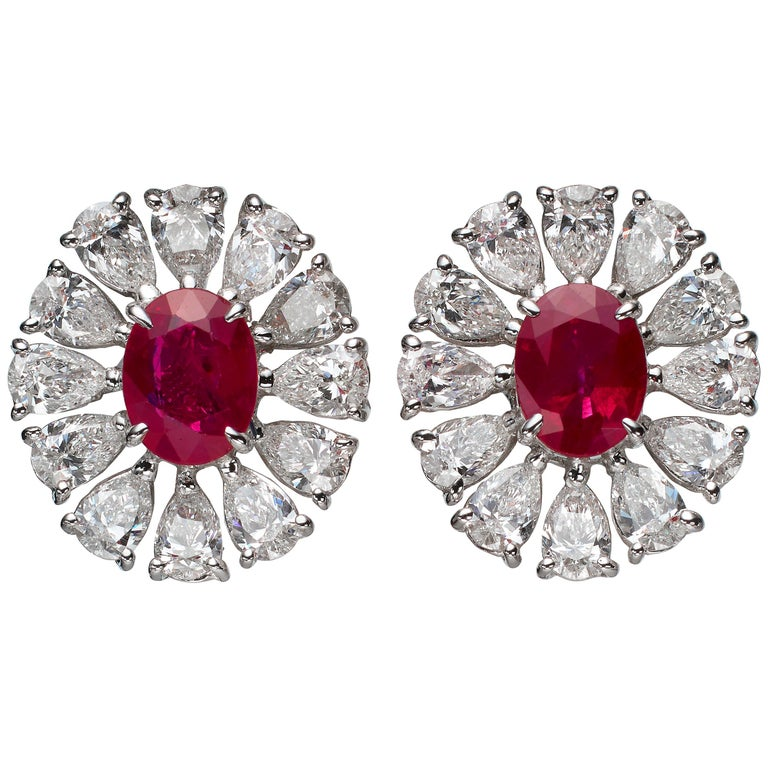 2.81 Carat Oval Ruby Pear-Shape Diamond 18 Karat White Gold Stud Earrings For Sale