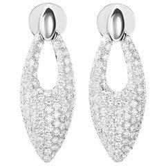 2.81 Carat Pavé Set Round Diamond Cluster 18 Karat White Gold Earrings