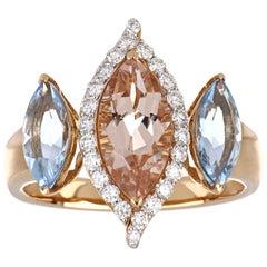 2.81 Carat Total Morganite and Aquamarine Ring with Diamonds in 18 Rose Gold