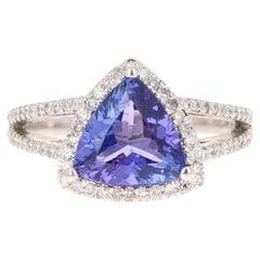2.81 Carat Trillion Cut Tanzanite Diamond Ring 14 Karat White Gold