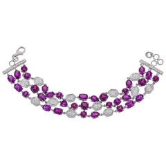 28.12 Carat Purple Garnet and Diamond 18 Karat White Gold Flexible Bracelet