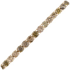 28.15 Carat Round Fancy Brown Tennis Bracelet 18 Karat in Stock