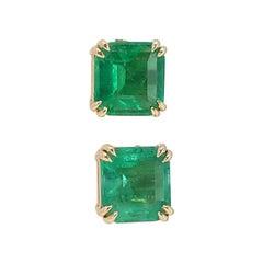 2.815 Ct Natural Emerald 18k Yellow Gold Errings