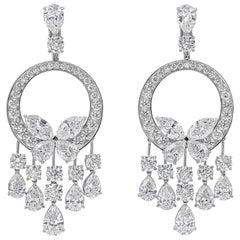 Roman Malakov, 28.19 Carat Fancy Shape Diamond Chandelier Earrings