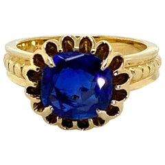 2.82 Carat Burma Unheated Blue Sapphire 18 Karat Yellow Gold Ring