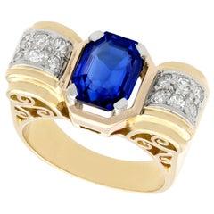 2.82 Carat Burmese Sapphire and Diamond Yellow Gold Cocktail Ring, Art Deco