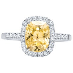 2.82 Carat Cushion Cut Natural No Heat Ceylon Yellow Sapphire 'GIA' Ring