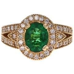 2.82 Carat Emerald Diamond 14 Karat Yellow Gold Ring