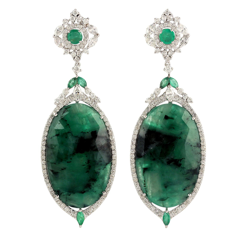 28.2 Carat Emerald Diamond 18 Karat Gold Earrings