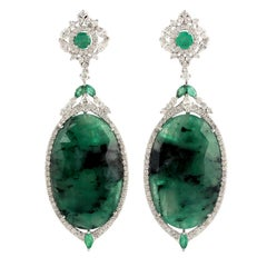 28.2 Carat Emerald Diamond 18 Karat Gold Earrings