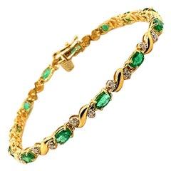 2.82 Carat Natural Diamond and Emerald Bracelet G-H SI 14 Karat Yellow Gold