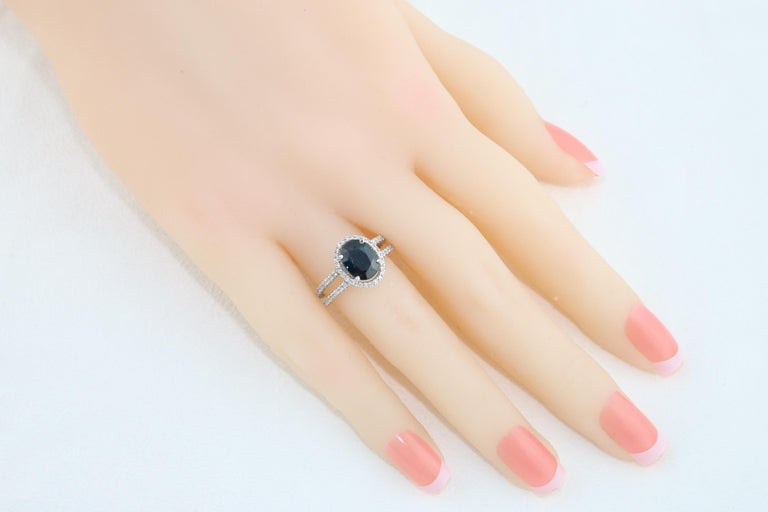 2.82 Carat Oval Blue Sapphire Diamond Gold Ring For Sale 1