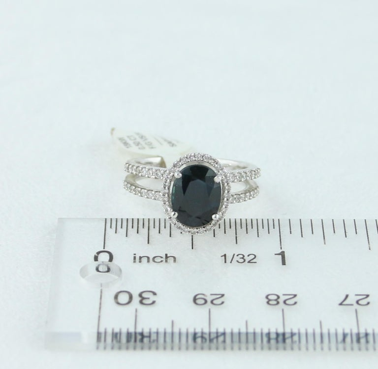 2.82 Carat Oval Blue Sapphire Diamond Gold Ring For Sale 2