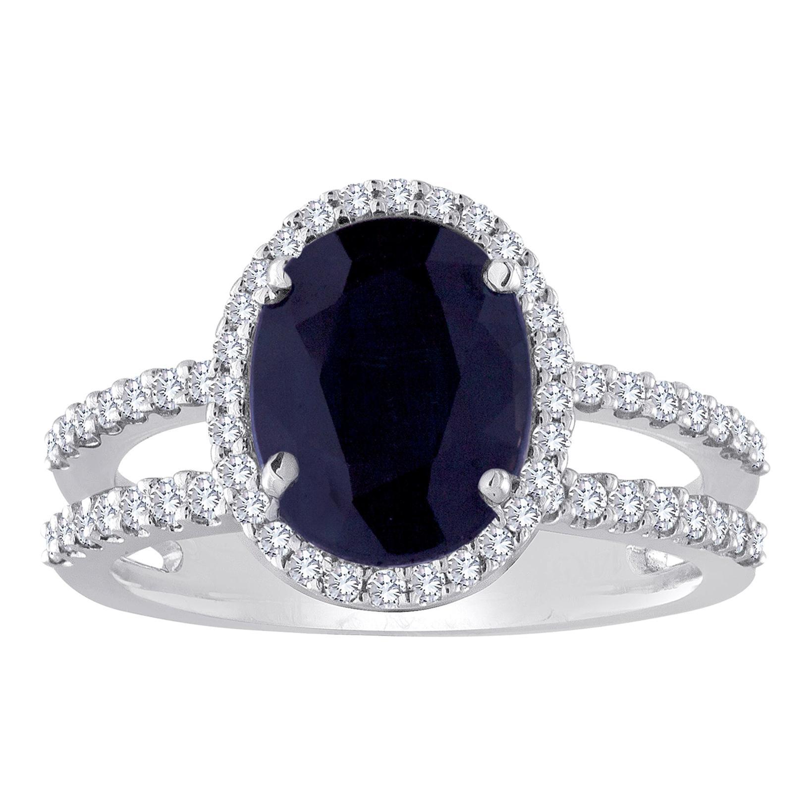 2.82 Carat Oval Blue Sapphire Diamond Gold Ring