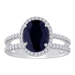 2.82 Carat Oval Blue Sapphire Diamond Gold Ring
