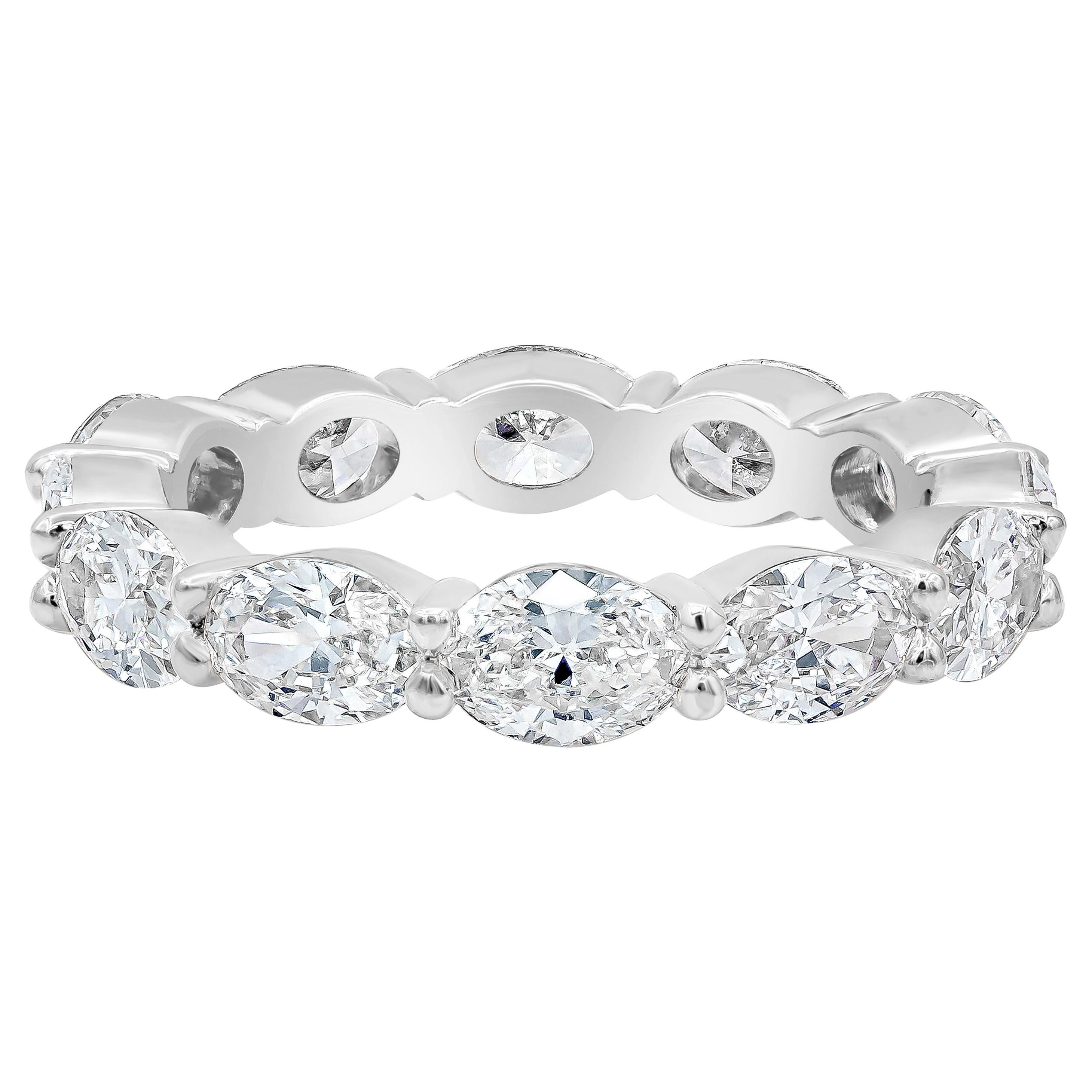 Roman Malakov 2.82 Carat Oval Cut Diamond East-West Eternity Wedding Band