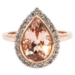 2.82 Carat Pear Cut Morganite and Diamond Halo Cluster 9 Carat Rose Gold Ring