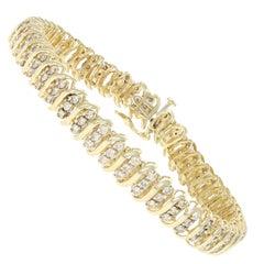 2.82 Carat Round Brilliant Diamond Bracelet, 10 Karat Yellow Gold Link