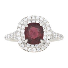 2.82 Carat Ruby and Diamond Ring, Platinum GIA Double Halo