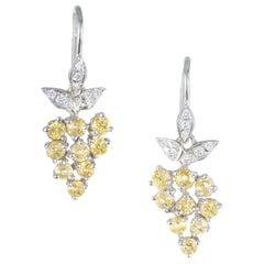 2.82 Carat Yellow Sapphire Pave Diamond Platinum Dangle Earrings