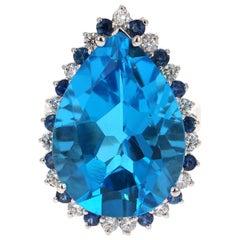 28.22 Carat Blue Topaz Diamond 14 Karat Yellow Gold Ring