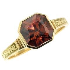 2.82ct Flame Zircon in 18 Karat Gold Custom Ring