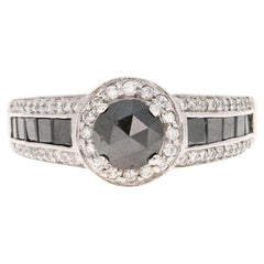 2.83 Carat Black and White Diamond 14 Karat White Gold Engagement Ring