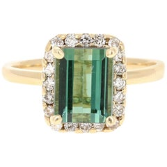 2.83 Carat Green Tourmaline Diamond 14 Karat Yellow Gold Engagement Ring