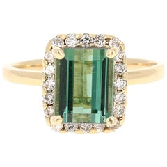 2.83 Carat Green Tourmaline Diamond 14 Karat Yellow Gold Engagement Ring