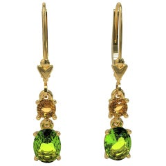 2.83 Carat Oval Peridot and Citrine Drop Earrings in 18 Carat Yellow Gold