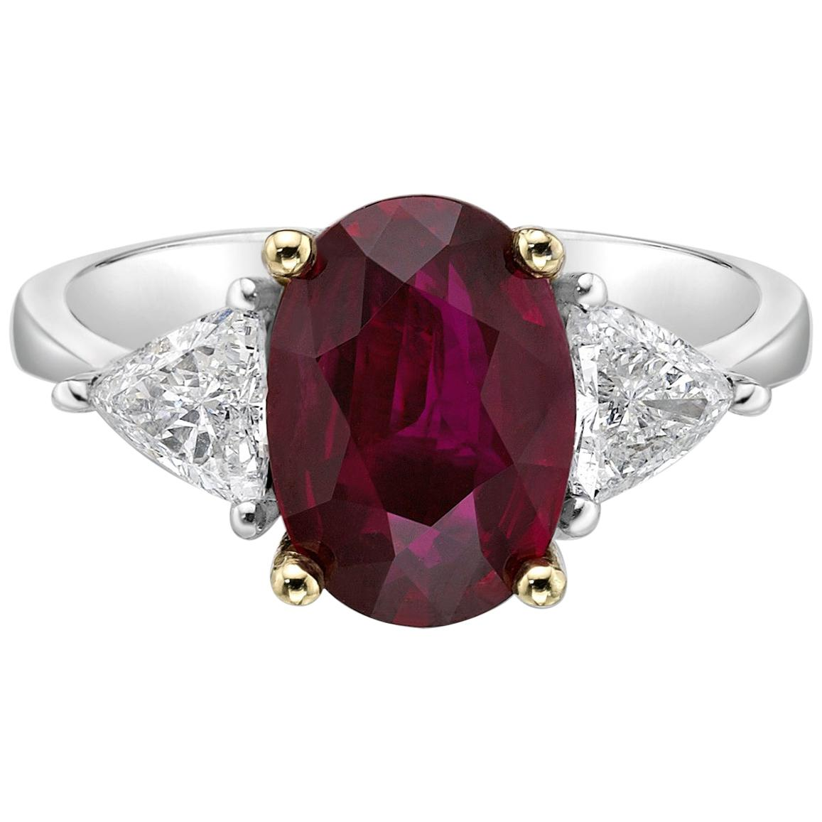 2.83 Carat Ruby GIA Certified Thailand Diamond Ring Oval Cut