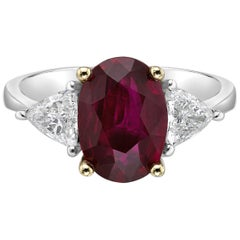 2.83 Carat Vivid Red Ruby GRS Certified Non Heated Diamond Ring Oval Cut