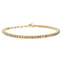 2.83 Multicolored Camo Diamonds 18 Karat Yellow Gold Tennis Bracelet