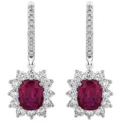 2.84 Carat Cushion Ruby Diamond Earrings