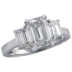 2.84 Carat Emerald Cut Diamond Platinum Ring Trapezoid Side Diamonds GIA