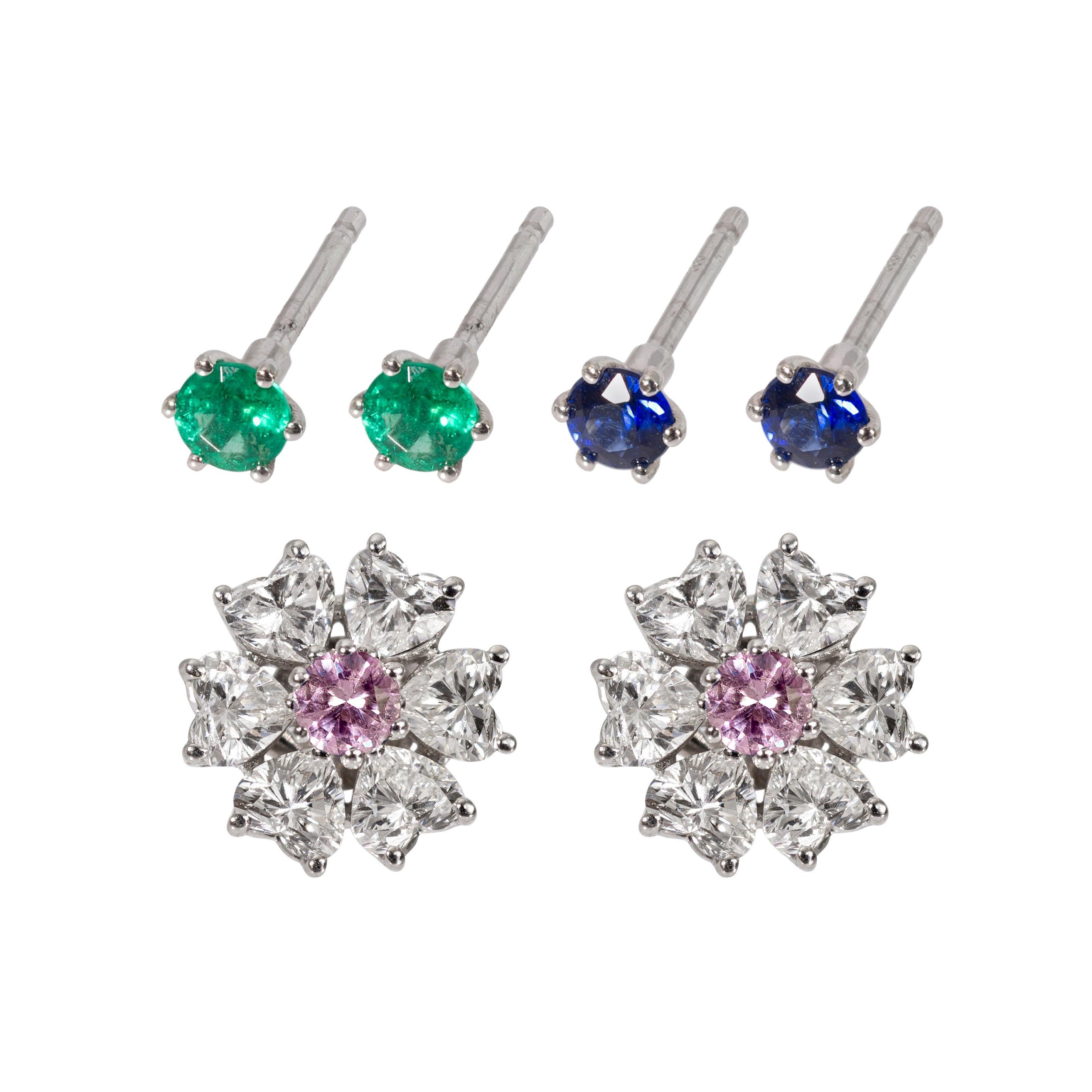 2.84 Carat Interchangeable Diamond Earrings Set with Heart Shape Diamonds