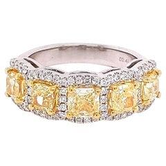 2.84 Carat / Natural Fancy Yellow Diamonds / 18 Karat White Gold / Ring