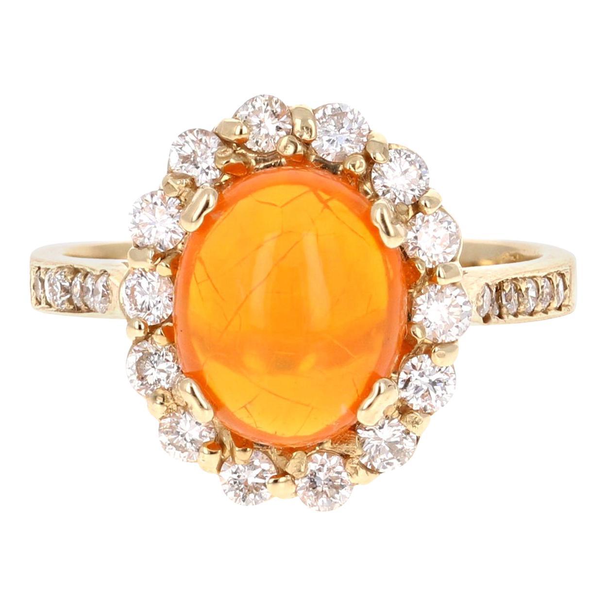 2.84 Carat Oval Cut Ethiopian Opal Diamond Yellow Gold Ring
