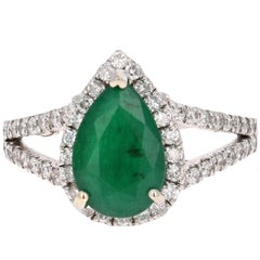 2.84 Carat Pear Cut Emerald Diamond Halo Engagement Ring