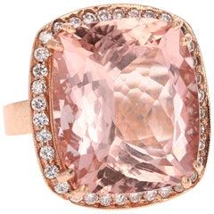 28.46 Carat Morganite Diamond 14 Karat Rose Gold Cocktail Ring