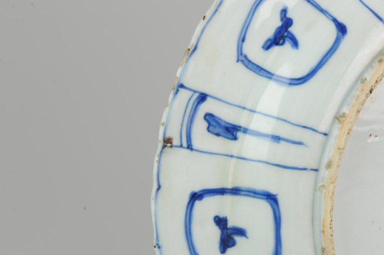 Transitional Ming Chinese Porcelain Bird Kraak Charger Flower China For Sale 5