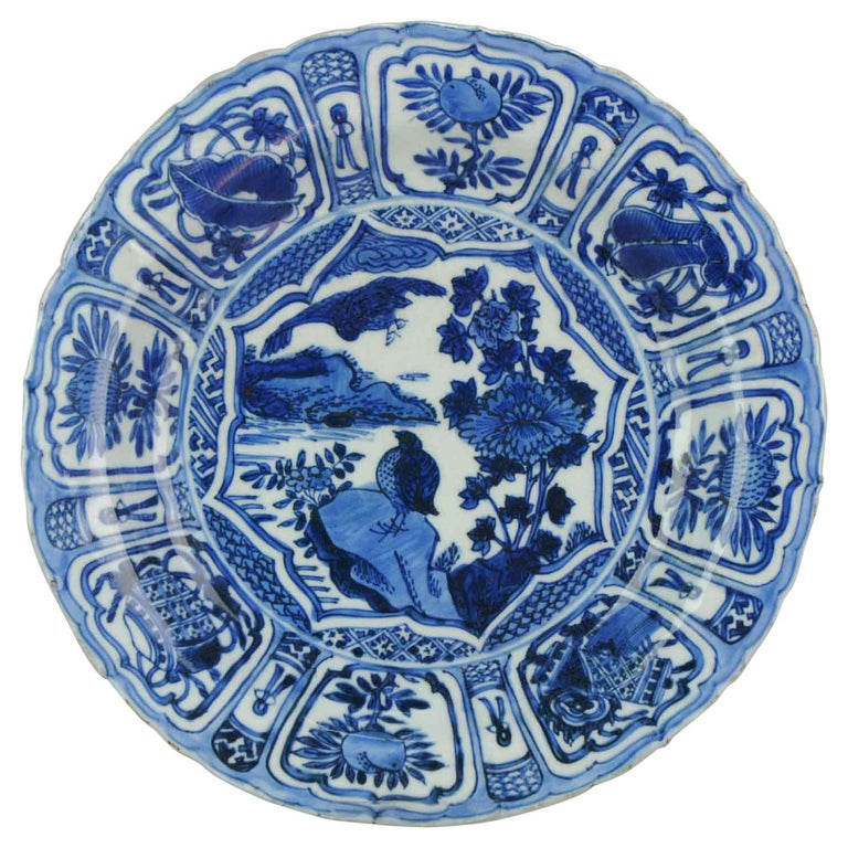 Transitional Ming Chinese Porcelain Bird Kraak Charger Flower China For Sale