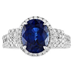 2.85 Carat Blue Sapphire Diamond Gold Halo Ring