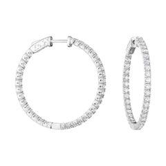 Diamond Hoop Earrings 2.85 Carats in 14kt Gold