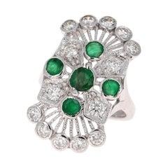 2.85 Carat Emerald and Diamond 14 Karat White Gold Art Deco Style Ring