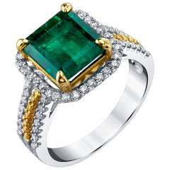 2.85 Carat Emerald, Canary, White Diamond Halo, Two-Toned Gold Cocktail Ring