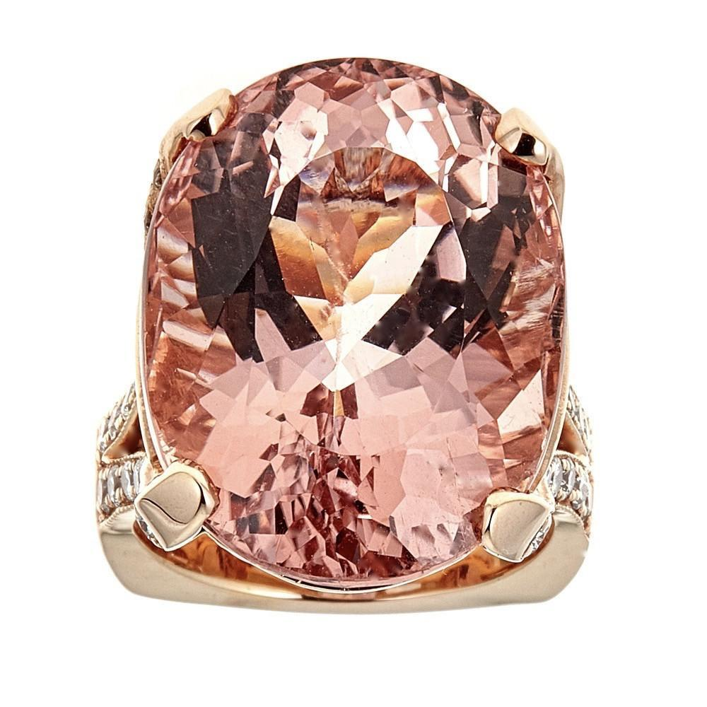 28 TCW pink Morganite and Diamond accent Cocktail ring in 18 K Rose Gold InStock